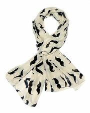Ivory Polycotton Handmade Cool Chic scarf wrap cotton Moustache casual women