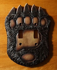 BLACK BEAR PAW DOUBLE TOGGLE LIGHT SWITCH PLATE COVER SWITCHPLATE CABIN DECOR