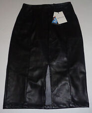 WHO WHAT WEAR Black Faux Leather Long Pencil Skirt NWT SZ 8
