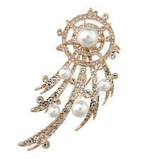18K LARGE ROSE GOLD PLATED AND GENUINE SWAROVSKI CRYSTAL & PEARL BROOCH