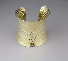 "Gold cuff bracelet stamped hammered pattern metal bangle cuff 2.5"" wide shiny"