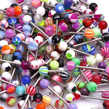 30Pcs Colorful Ball Tongue Nipple Bar Ring Barbell Body Piercing Jewelry