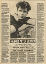 28/5/83PN23 ARTICLE WITH PICTURE: GLENN BRANCA HANKER AFTER BRANCA