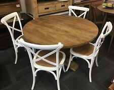 Solid Recycled Elm 1.2 Table + 4 White Cross Back Chairs