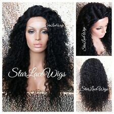 Long Wavy Curly Lace Front Wig Layer Off Black #1b Side Part Heat Safe Brazilian