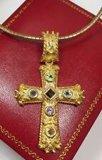 14k Yellow Gold Sterling Silver Multi Gemstone Artisan Cross Omega Necklace Set