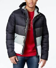 Armani Jeans Colorblock Puffer Coat with Ho Black L  (MSRP: $420)