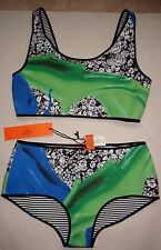 Clover Canyon Neoprene Green Wallpaper Splash Reversible Bikini 2 Pc Sz S NWT