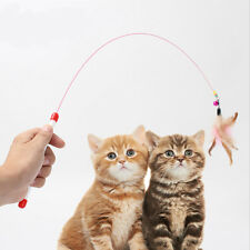 1Pc Puppy Dog Cat Play Plastic Stick Wire Feather With Bell Teaser Rod Pole Toy