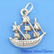 JAMESTOWN SHIP SAIL BOAT 3D .925 Solid Sterling Silver Charm Pendant MADE IN USA