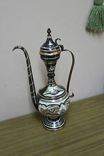 "Handmade Hand Carved Etched Copper Turkish Pitcher Ewer ibrik 15"" Enameled"