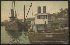 POSTCARD PERTH AMBOY NJ/NEW JERSEY WATER FRONT TOW BOAT FALCON 1907