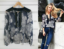 ZARA Blue Mix Studded Bib 100% SILK Flowing Blouse Shirt Top S BNWT REF 2731 252