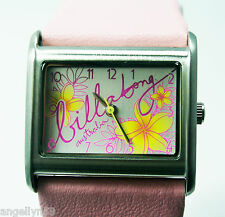 BILLABONG SIREN Watch HOT PINK LADIES GIRLS REAL LEATHER NEW IN GIFT BOX