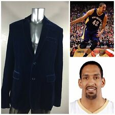 ELEVEE Bespoke For Alexis Ajinca NBA Player Men`s Blue Solid Sport Coat Sz 48L