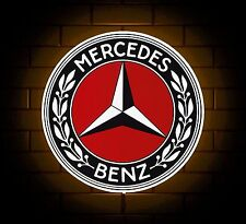 MERCEDES BADGE SIGN LED LIGHT BOX MAN CAVE GARAGE WORKSHOP GAMES ROOM BOY GIFT