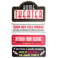 HOME THEATER DECOR    CINEMA RULES METAL SIGN