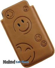 LIMITED LUXURY BROWN LEATHER SLEEVE POUCH SMILEY FACE CASE FOR APPLE iPHONE 4S 4