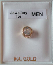 New men's 'SINGLE' 9ct gold & cubic zirconia rub over 5mm stud earring - boxed