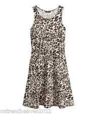 bnwt H&M SUNDRESS UK 6/8 XS LEOPARD ANIMAL PRINT SOFT JERSEY STRETCH FLARED HEM