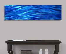 Contemporary Blue Single Panel Metal Wall Art Accent by Jon Allen - Aqueous Flow