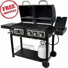 Dual Fuel Combination Charcoal/Gas Grill 24,000 BTUs Outdoor Portable BBQ Black