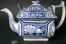 Antique English Staffordshire Pearlware Blue Transferware Teapot DRAGON