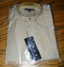Domani Collection Banded Collar Long Sleeve Brown Dress Shirt Size M 15-15.5