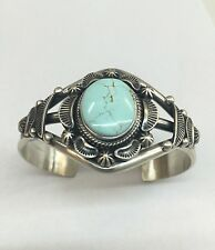 Native American Navajo Indian Sterling Silver Dry Creek Turquoise Cuff Bracelet