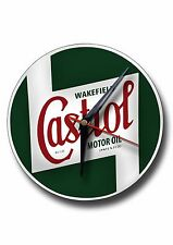 CASTROL ROUND METAL CLOCK,RETRO,GARAGE,CASTROL OIL.COLLECTABLE,ICONIC.