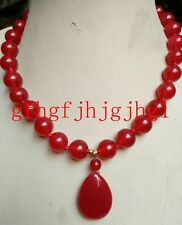 10mm Natural Red jade Round Beads &(Red jade Pendant 18x25mm) Necklace18''