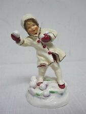"VINTAGE ROYAL WORCESTER F.G. DOUGHTY 3458 ""DECEMBER"" CHILD THROWING SNOWBALLS"