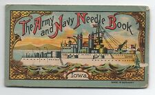 1920s Army & Navy Needle Book showing the USS Iowa and Eagle
