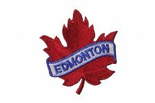 EDMONTON RED MAPLE LEAF IRON-ON PATCH CREST BADGE . SIZE : 2.5 X 2.5 INCH..NEW