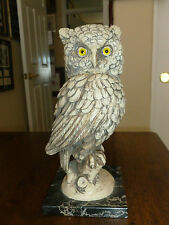 Vintage A. Santini Owl Sculpture on Marble- Yellow Eyes-Alabaster- Italy-Signed