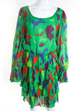 OSCAR DE LA RENTA Multi Color Abstract Long Sleeve Scoop Neck Ruffle Dress Sz 12
