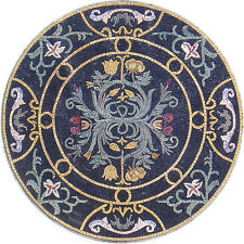 "32"" HandMade Art Tile Stone Patterns Medallion Floral Decor Marble Mosaic"