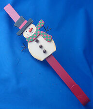 "over the door 15"" long Christmas metal wreath holder decorated with snowman"