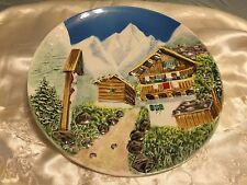 "9"" CERAMIC MADE IN WESTERN GERMANY 3D RELIEF MOUNTAIN CHALET ALPS PLATE NUMBERED"