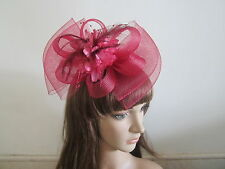 Headwear Fascinators Clip Headpieces New Burgundy Wine Red Feather Wedding Party