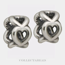 Authentic Pandora Sterling Silver Open Heart Spacers (2) 790454