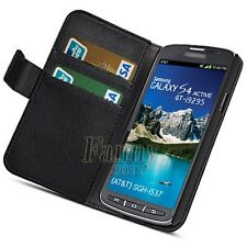 Black Card Wallet Stand Leather Case Cover For Samsung Galaxy S4 Active, i9295