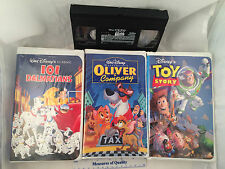 3 VHS Disney Movie 101 Dalmatians Oliver and Company Toy Story Clamshell NICE va