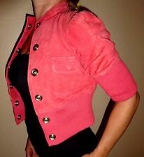 Guess Marciano Rust   Coral SUEDE Moto bomber motorcycle jacket sexy coat Small