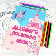 Childrens Pink PRINCESS Personalised Colouring Book and Pencils Set