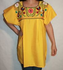 3XL YELLOW PEASANT BOHO PUEBLA HAND EMBROIDERED BLOUSE TOP XXXL