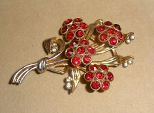 Ladies 1930's Large Floral Bouquet Brooch with Red Czech Rhinestones