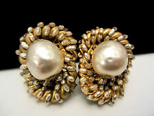 "Rare Vtg 1-1/2"" Signed Miriam Haskell Hand Wired Faux Pearl Clip On Earrings"