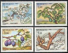 Monaco 1992 Plum/Fruit/Flowers/Nature/Seasons/Plants/Pre-cancels 4v set n41520
