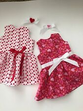 """NEW American Made Valentine Day Dress LOT Made for 18"""" American Girl Dolls"""